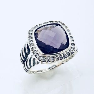David Yurman Albion Ring w Amethyst and Diamonds